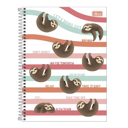 Caderno espiral capa dura universitário 1x1 - 80 folhas - Nap Nap Preguiça - Capa 2 - Tilibra