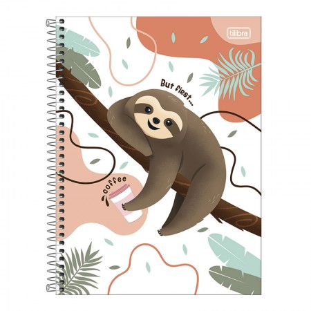 Caderno espiral capa dura universitário 1x1 - 80 folhas - Nap Nap Preguiça - Capa 3 - Tilibra