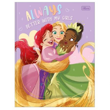 Caderno brochurão capa dura universitário 1x1 - 80 folhas - Princesas - Cinderella - Tilibra