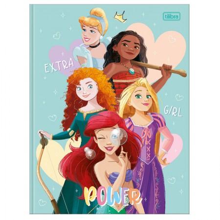 Caderno brochurão capa dura universitário 1x1 - 80 folhas - Princesas - Rapunzel, Aurora e Branca de Neve - Tilibra