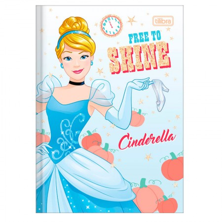 Caderno brochura capa dura 1/4 - 80 folhas - Princesas - Cinderella - Tilibra