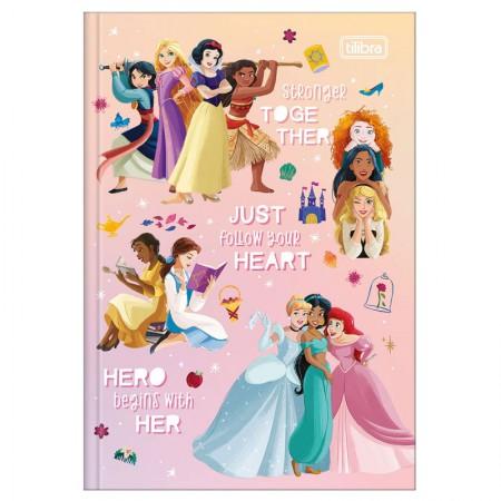 Caderno brochura capa dura 1/4 - 80 folhas - Princesas - Rapunzel, Aurora e Branca de Neve - Tilibra