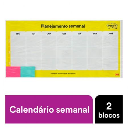 Calendário Semanal Post-It - com 2 blocos - CD0347 - 3M