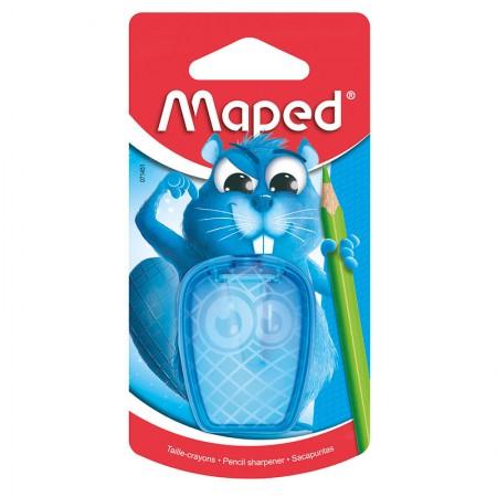 Apontador com coletor Castor 1 furo - 71451 - Azul - Maped