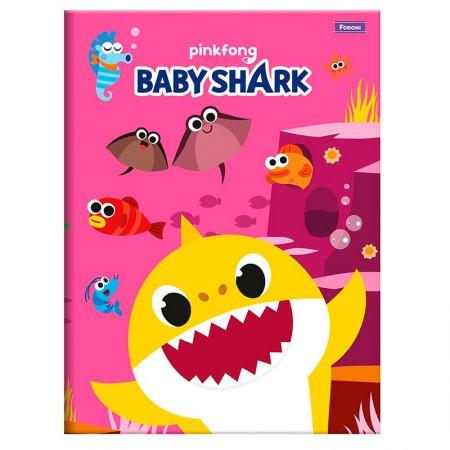 Caderno brochura capa dura 1/4 - 96 folhas - Baby Shark - Capa 1 - Foroni