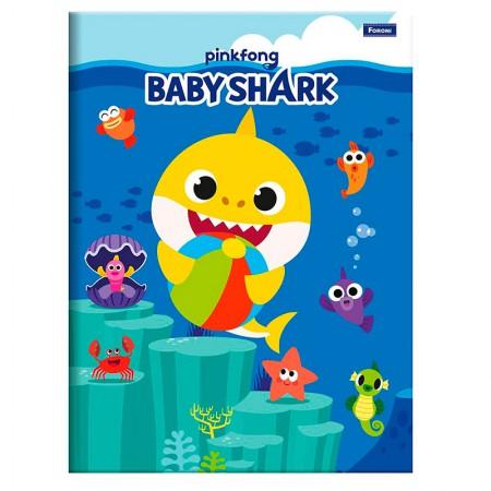 Caderno brochura capa dura 1/4 - 96 folhas - Baby Shark - Capa 2 - Foroni