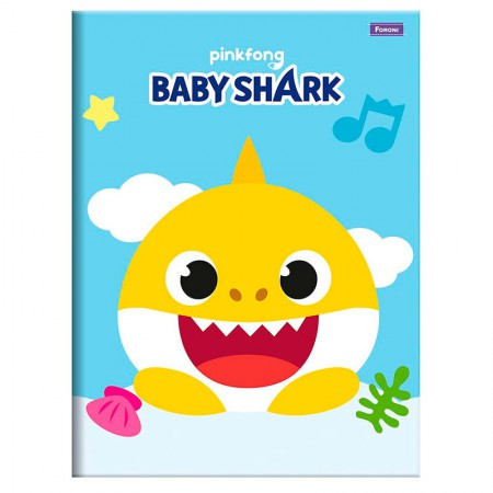 Caderno brochura capa dura 1/4 - 96 folhas - Baby Shark - Capa 3 - Foroni