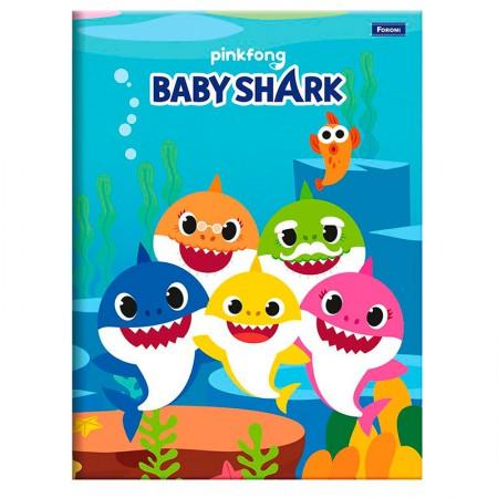 Caderno brochura capa dura 1/4 - 96 folhas - Baby Shark - Capa 4 - Foroni
