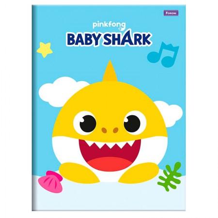 Caderno brochurão capa dura universitário 1x1 - 96 folhas - Baby Shark - Capa 3 - Foroni