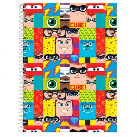 Caderno espiral capa dura universitário 1x1 - 96 folhas - Cubes Disney - Capa 1 - Foroni