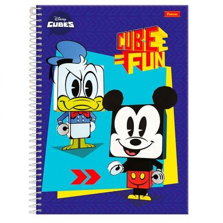 Caderno espiral capa dura universitário 1x1 - 96 folhas - Cubes Disney - Capa 2 - Foroni