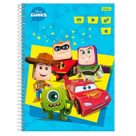 Caderno espiral capa dura universitário 1x1 - 96 folhas - Cubes Disney - Capa 3 - Foroni