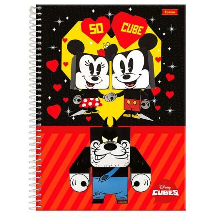 Caderno espiral capa dura universitário 1x1 - 96 folhas - Cubes Disney - Capa 4 - Foroni
