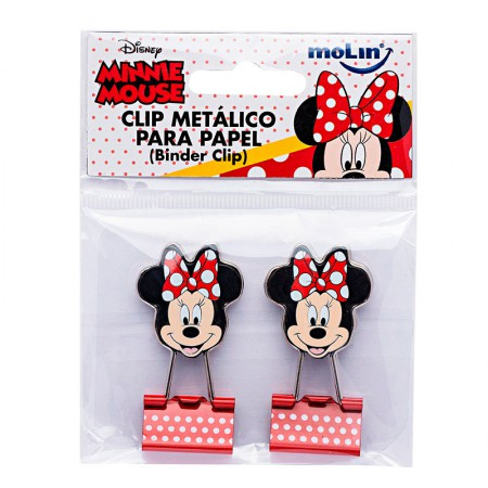 Prendedor de papel 25mm binder Clip Minnie com 2 unidades - 22390 - Molin