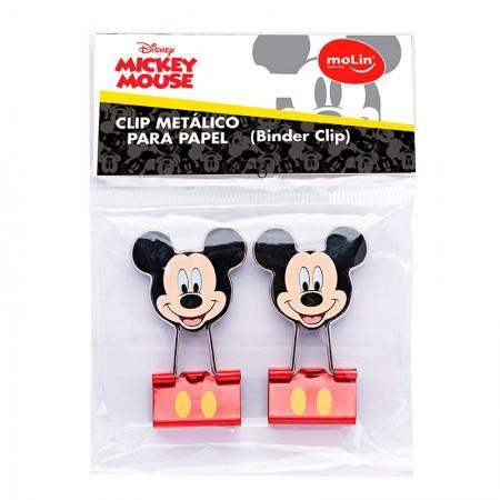 Prendedor de papel 25mm binder Clip Mickey com 2 unidades - 22691 - Molin
