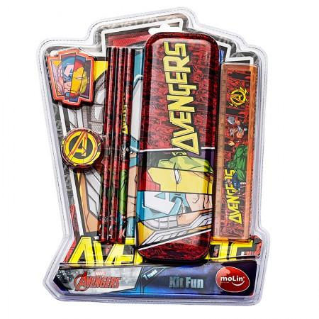 Kit escolar fun Os Vingadores - com 7 itens - 22229 - Molin