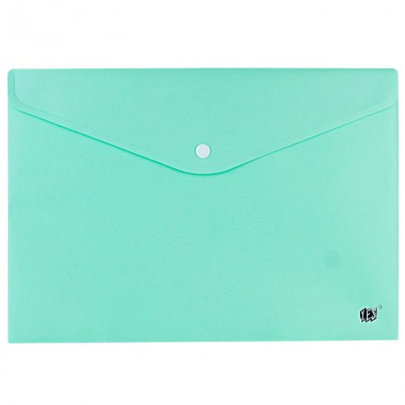 Envelope plástico com botão Ofício - DB803ABC/VD - Verde Pastel - Yes