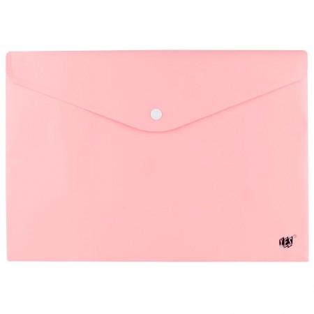 Envelope plástico com botão Ofício - DB803ABC/RS - Rosa Pastel - Yes