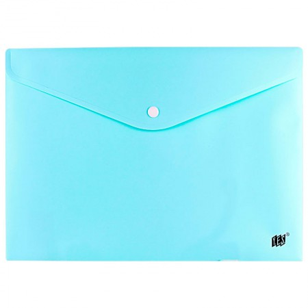 Envelope plástico com botão Ofício DB803ABC/AZ Azul Pastel Yes