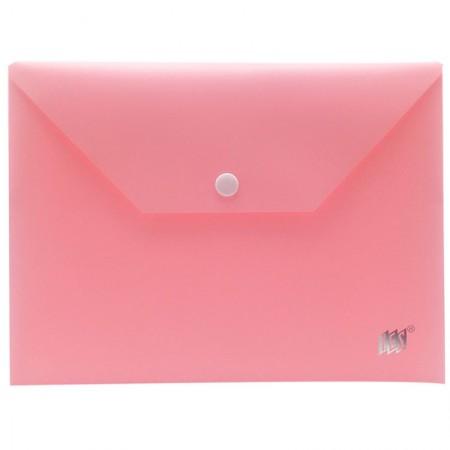 Envelope plástico com botão A5 - DB801BC/RS - Rosa Pastel - Yes