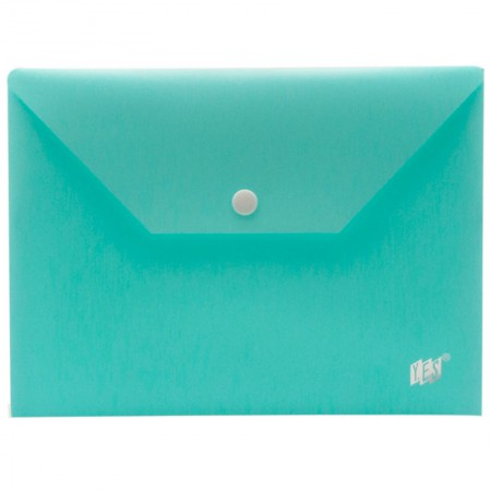Envelope plástico com botão A5 - DB801BC/AZ - Azul Pastel - Yes