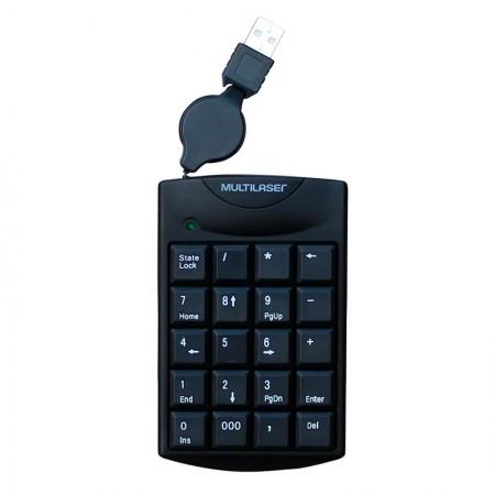 Teclado numérico com fio USB retratil TC230 - Multilaser