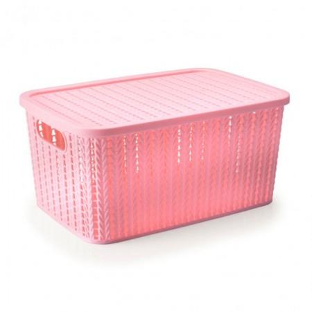 Caixa organizadora retangular - rosa - 237 - 14 litros - Plasútil