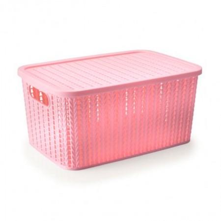 Caixa organizadora retangular - rosa - 236 - 8 litros - Plasútil