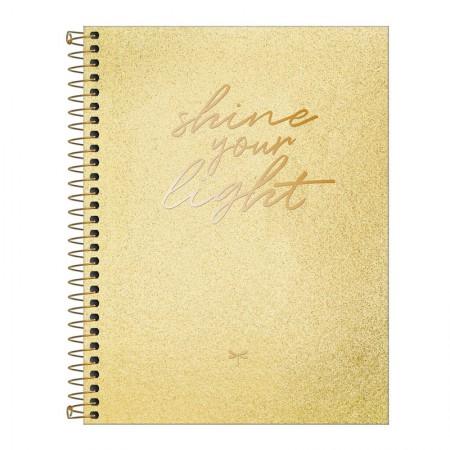 Caderno colegial capa dura 1x1 - 80 folhas - Cambridge Shine pontilhado - Dourado - Tilibra