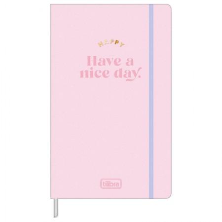 Caderno costurado grande Fitto Happy - pontilhado - 80 folhas - Rosa pastel - Tilibra