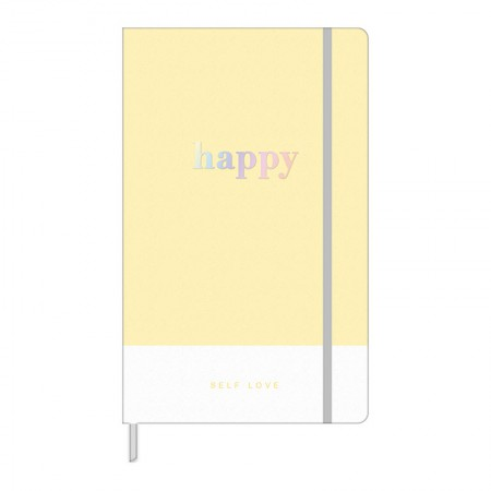 Caderno costurado grande Fitto Happy - pontilhado - 80 folhas - Azul Pastel - Tilibra