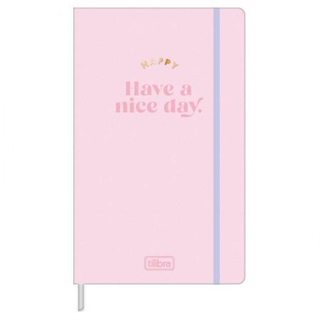 Caderno costurado grande Fitto Happy - Sem Pauta - 80 folhas - Azul - Tilibra