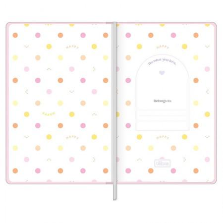 Caderno costurado grande Fitto Happy - Sem Pauta - 80 folhas - Rosa - Tilibra