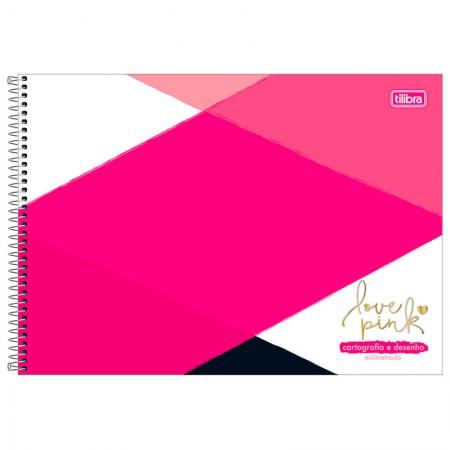 Caderno espiral capa dura cartografia - 80 folhas - Love Pink - Capa 1 - Tilibra
