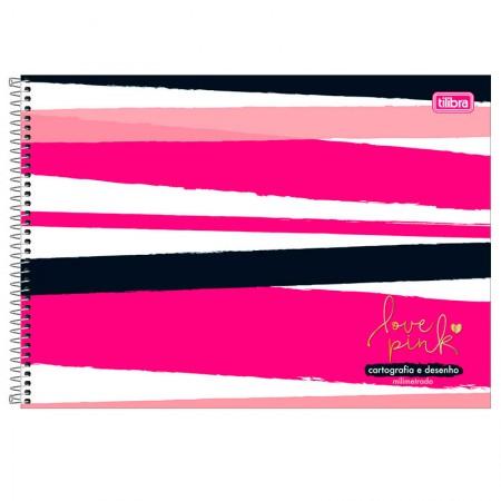 Caderno espiral capa dura cartografia - 80 folhas - Love Pink - Capa 2 - Tilibra