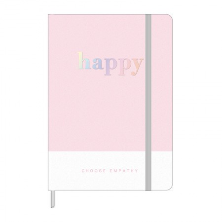 Caderneta capa dura 1/8 Fitto Happy - Sem Pauta - 80 folhas - Rosa pastel - Tilibra