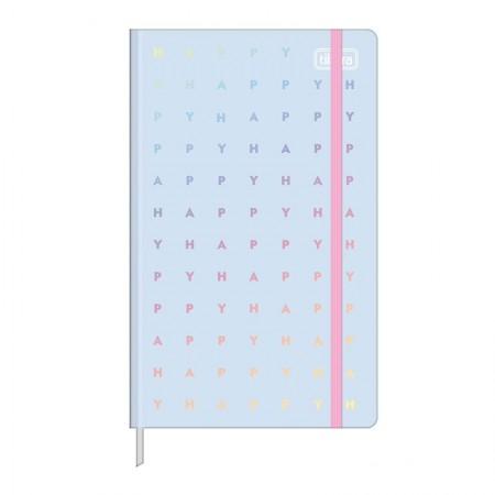 Caderneta capa dura 1/8 Fitto Happy - Sem Pauta - 80 folhas - Azul pastel - Tilibra