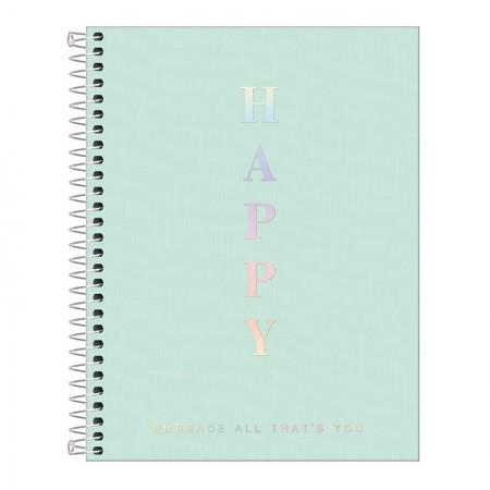 Caderno capa plástica colegial 1x1 - 80 folhas - Happy - Verde pastel - Tilibra