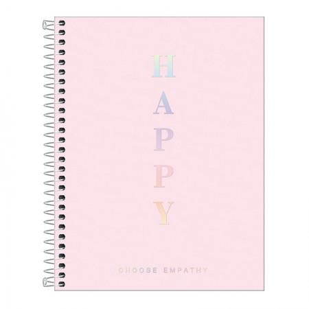 Caderno capa plástica colegial 1x1 - 80 folhas - Happy - Rosa pastel - Tilibra