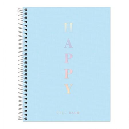 Caderno capa plástica colegial 10x1 - 160 folhas - Happy - Azul pastel - Tilibra