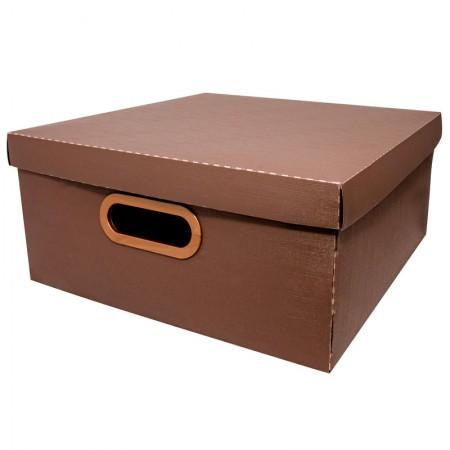 Caixa organizadora grande linho - marrom - 2206.M - Dello
