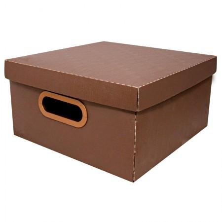Caixa organizadora média linho - marrom - 2205.M - Dello