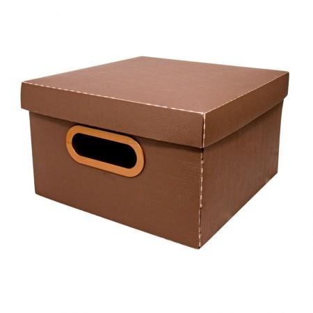 Caixa organizadora pequena linho - marrom - 2204.M - Dello