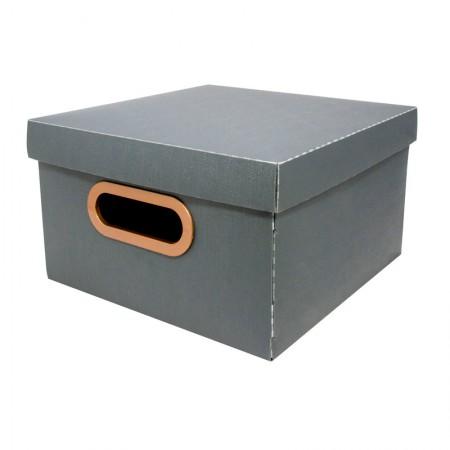 Caixa organizadora pequena linho - chumbo - 2204.G2 - Dello