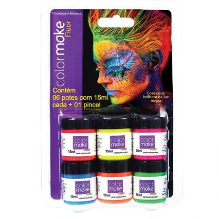 Tinta líquida facial fluor com 6 cores + 1 pincel - Colormake