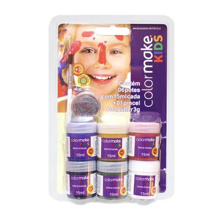 Tinta líquida facial kids com 6 cores + 1 pincel + 1 glitter - Colormake
