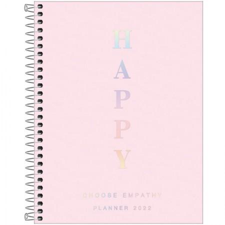 Agenda planner espiral semanal Happy 2021 Rosa pastel  - Tilibra