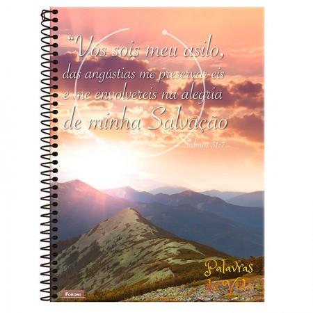 Caderno espiral capa dura 1/4 - 80 folhas - Palavras da Vida - Capa 1 - Foroni