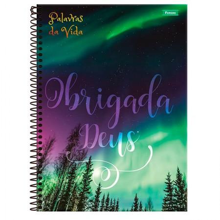Caderno espiral capa dura 1/4 - 80 folhas - Palavras da Vida - Capa 2 - Foroni
