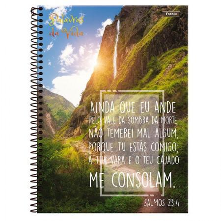 Caderno espiral capa dura 1/4 - 80 folhas - Palavras da Vida - Capa 3 - Foroni